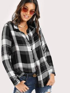 Lightweight Long Sleeve Plaid Top BLACK