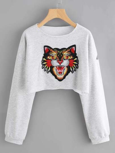 Tiger Embroidered Patch Raw Edge Ripped Marled Pullover
