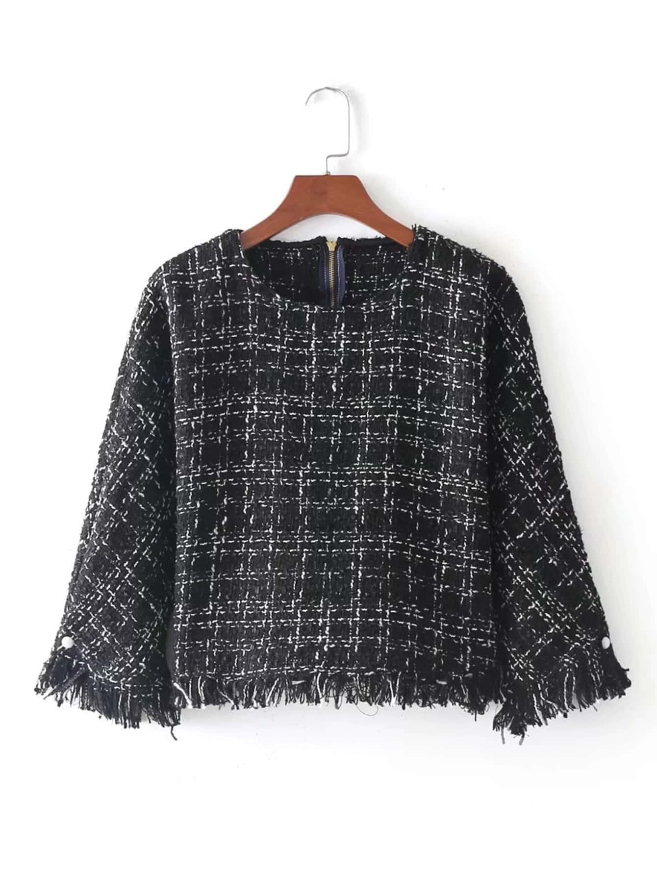 Tassel Trim Tweed Top frayed trim open front tweed blazer