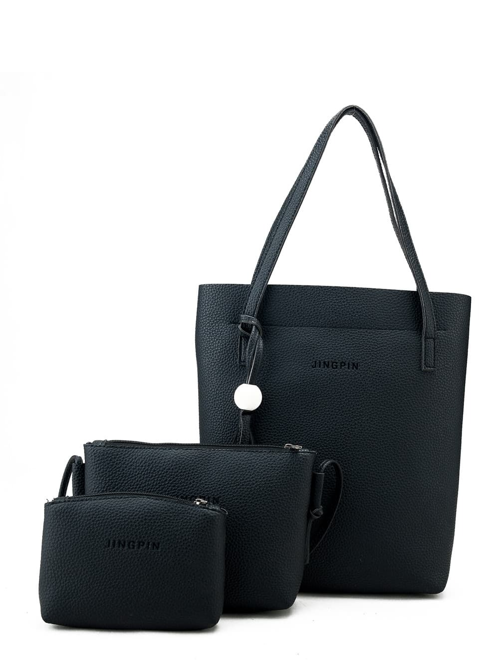 Tassel Detail Tote Bag With Clutch 3pcs patch detail combination bag with clutch bag