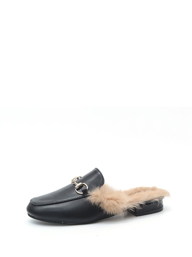 Faux Fur Lined PU Slipper