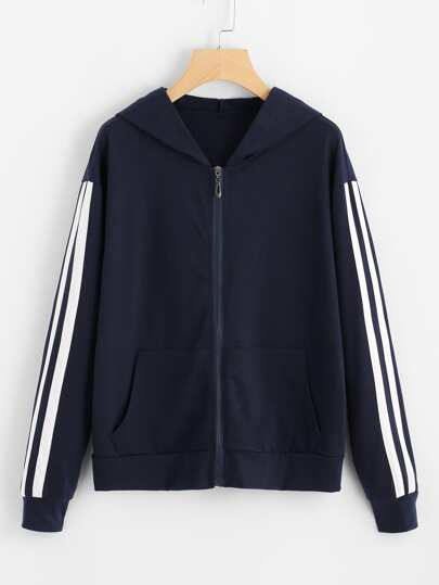 Contrast Striped Tape Sleeve Zip Up Jacket