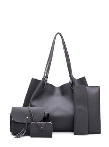 Raw Edge Tassel Detail PU Bag Set 4pcs