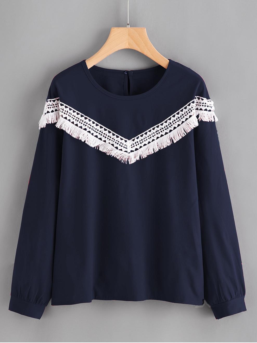 Contrast Crochet Applique Blouse lace crochet contrast neck blouse