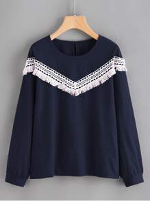 Contrast Crochet Applique Blouse