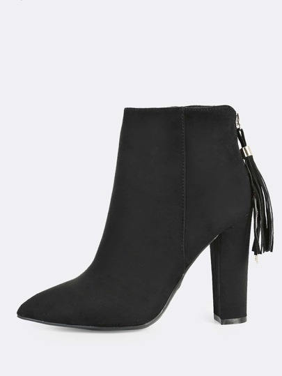 Point Toe Faux Suede Booties BLACK