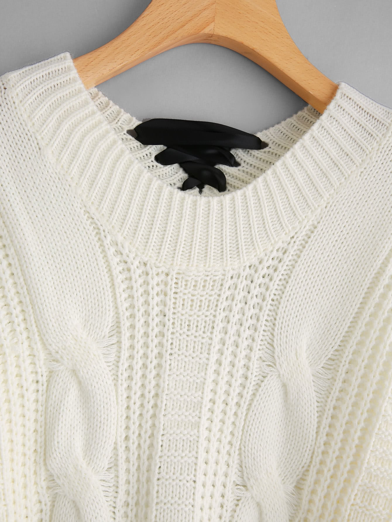 Lace Up Back Cable Knit Sweater