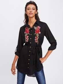 Rolled Sleeve Rose Applique Belt Shirt