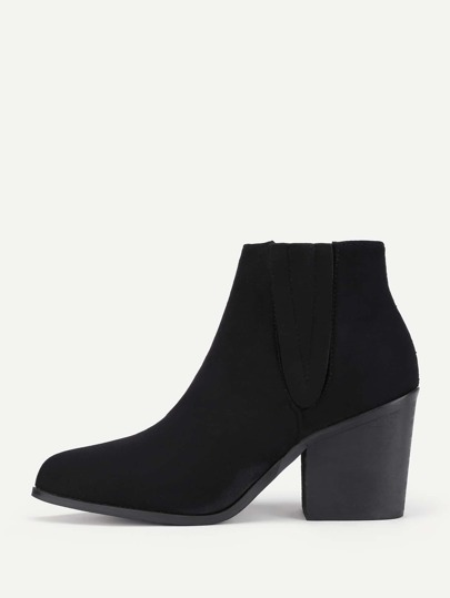 Block Heeled Suede Ankle Boots