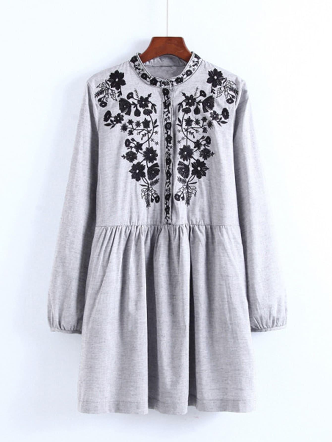Flower Embroidery Shirt Dress symmetric flower embroidery t shirt