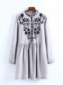 Flower Embroidery Shirt Dress