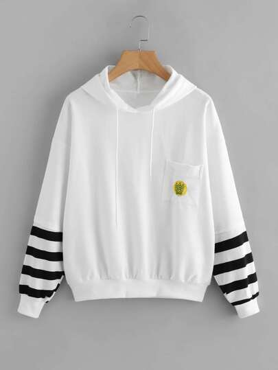Striped Sleeve Embroidered Chest Pocket Hoodie