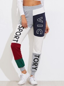 Cut And Sew Print Sweatpants