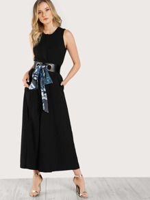 Sleeveless Zip Up Solid Jumpsuits BLACK