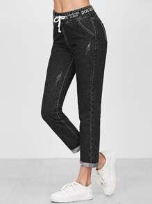 Drawstring Waist Tape Detail Cuffed Jeans