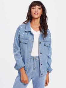 Faux Pearl Drop Shoulder Denim Jacket