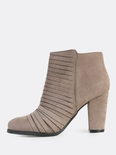 Slit Zip Up Faux Suede Booties TAUPE