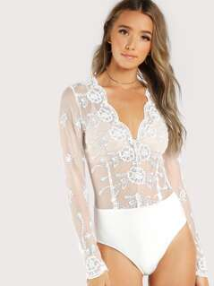 Scalloped Plunge Neck Embroidered Mesh Bodysuit