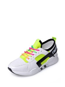 Net Surface Colorful Lace Up Sneakers