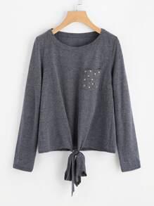 Star Print Pocket Knot Front T-shirt