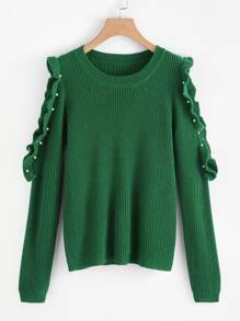 Pearl Ruffle Open Shoulder Sweater