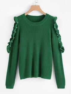 Pearl Ruffle Open Shoulder Sweater