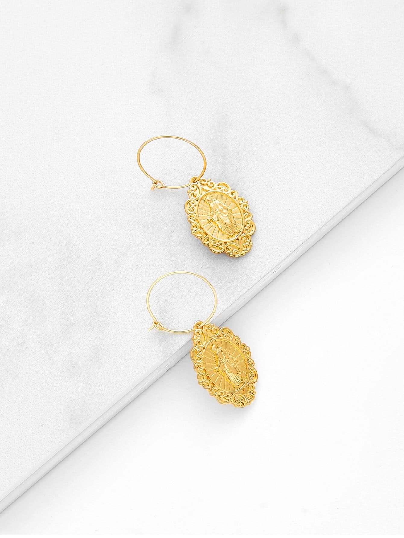 Round Drop Earrings two tone round flake drop earrings