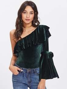 Flounce One Shoulder Bell Sleeve Velvet Bodysuit