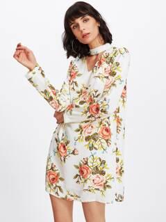Flower Print Choker Neck Dress