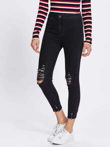 Ripped Knee And Hem Crop Jeans
