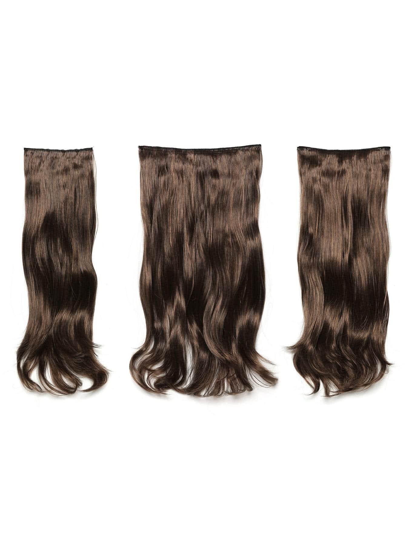 цена на Warm Brunette Clip In Soft Wave Hair Extension 3pcs