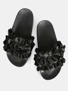 Satin Ruffle Slides BLACK