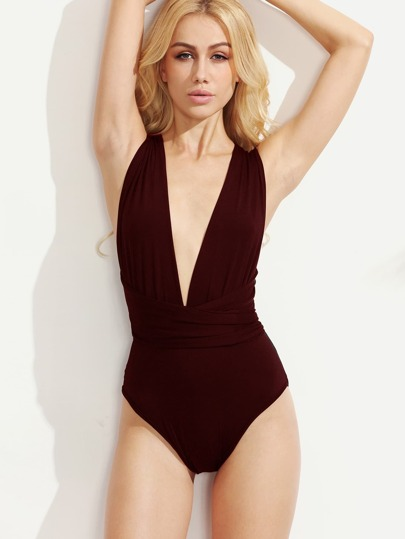 Multiway Cross Tie Back Plunging Bodysuit
