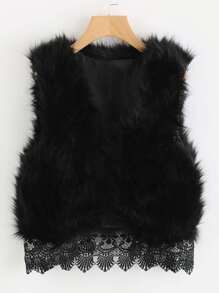 Lace Hem Sleeveless Faux Fur Jacket