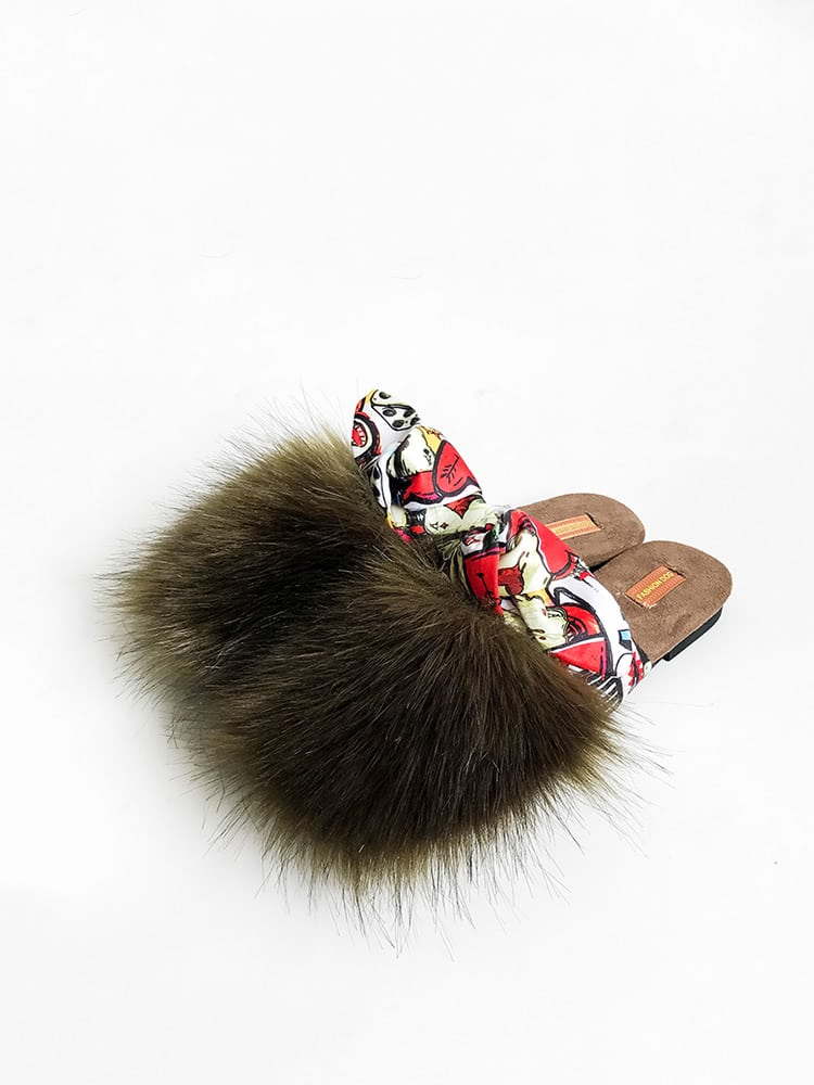 Faux Fur Knotted Detail Slippers