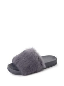 Faux Fur Flat Slippers