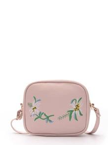 Flower Embroidery Shoulder Bag