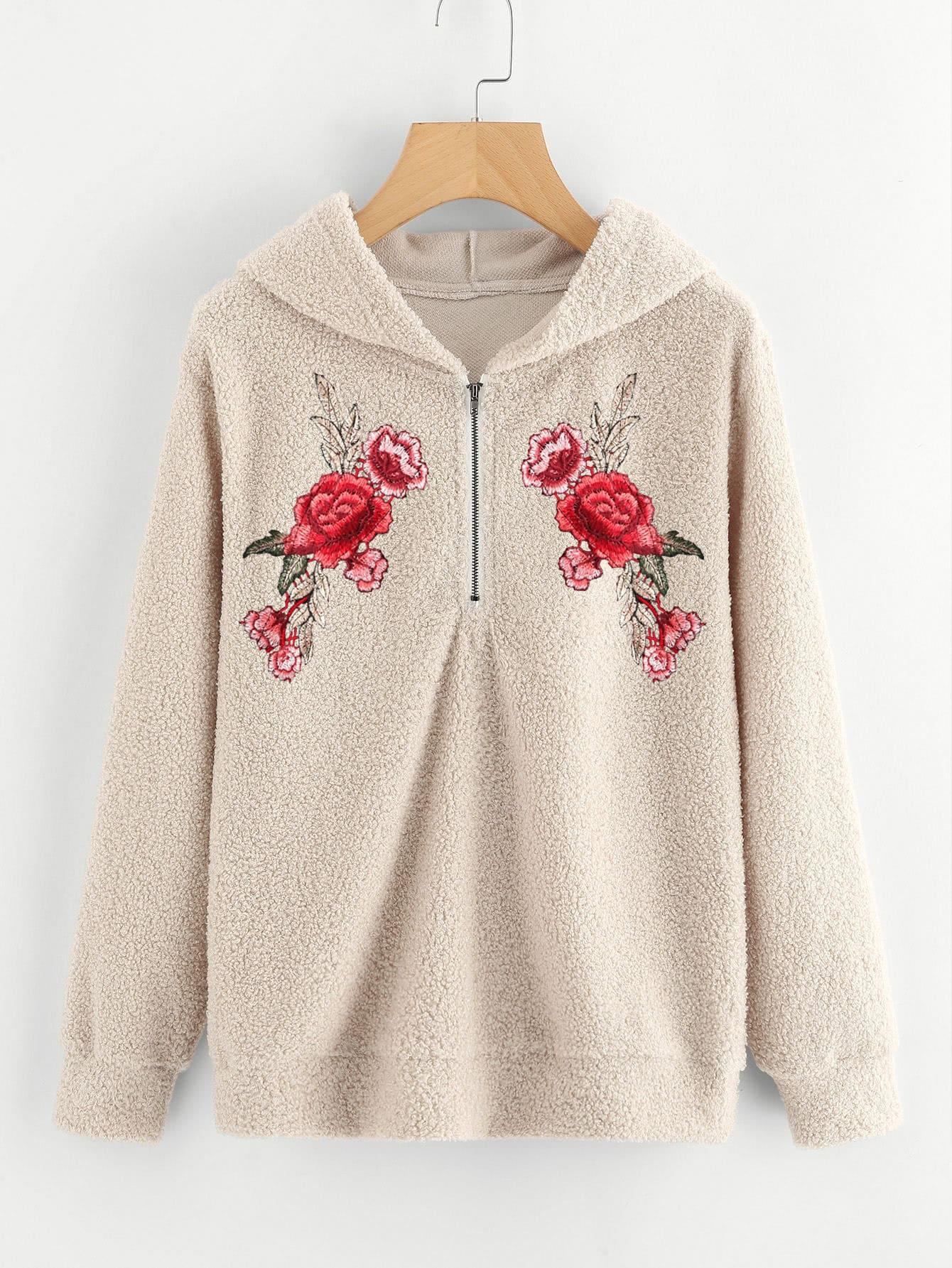 hoodie mit stickereien und rose applikation german shein. Black Bedroom Furniture Sets. Home Design Ideas