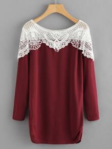 Contrast Hollow Out Crochet Long Tee
