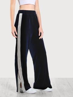 Buttoned Contrast Side Velvet Pants