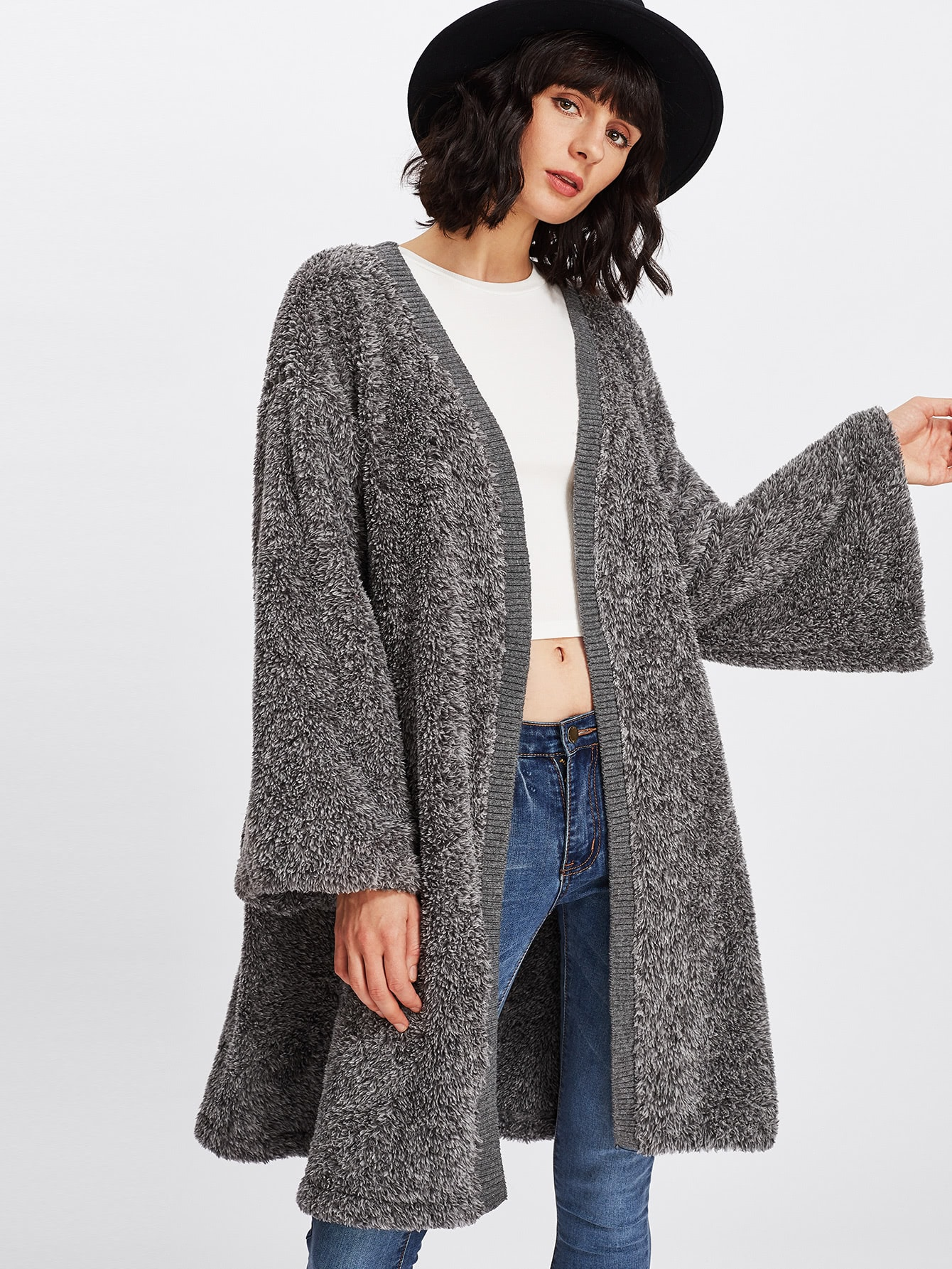 Image of Bell Sleeve Faux Fur Coat