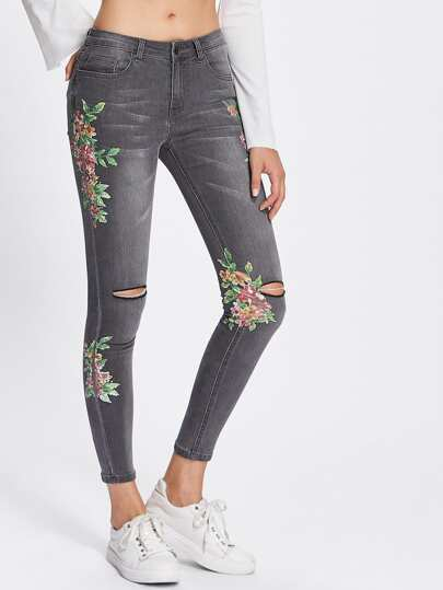 Botanical Patched Ripped Bleached Jeans