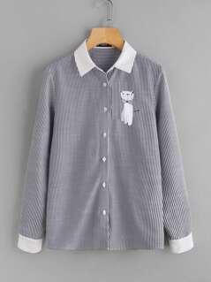 Cat Print Fold Pleat Back Pinstripe Shirt