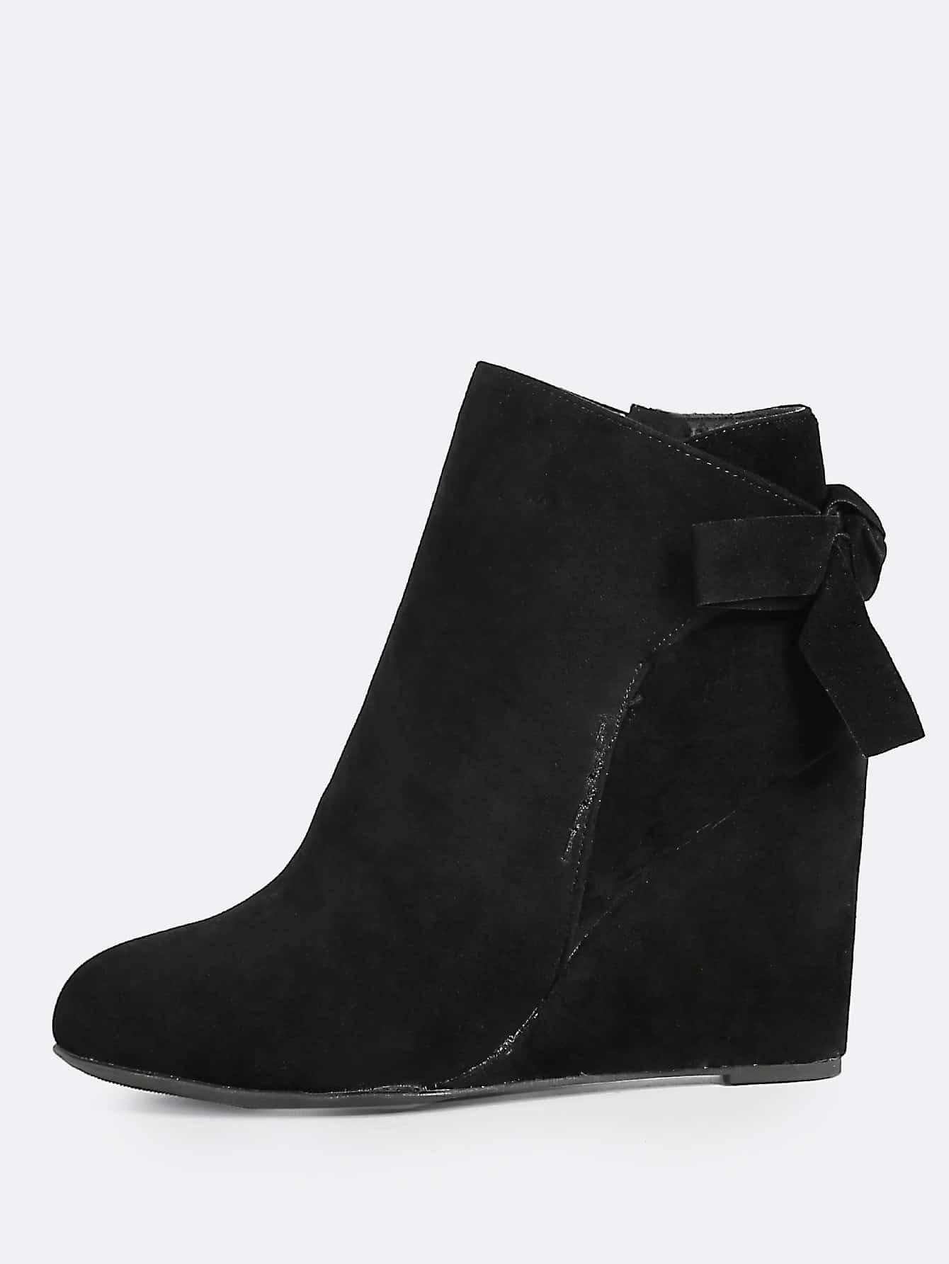 bow accent wedge heel boots black shein sheinside