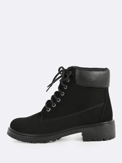 Puffed Worker Boots BLACK