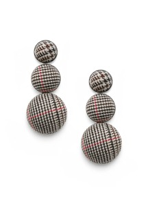 Layered Half Ball Plaid Earrings