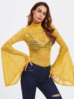 Exaggerated Bell Sleeve Lace Bodysuit