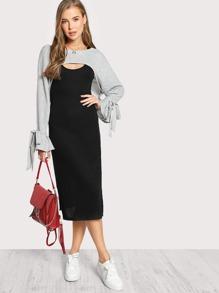 High Crop Long Sleeve Tie Sleeve Overlay Dress GREY