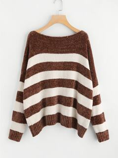 Two Tone Striped Cocoon Sweater