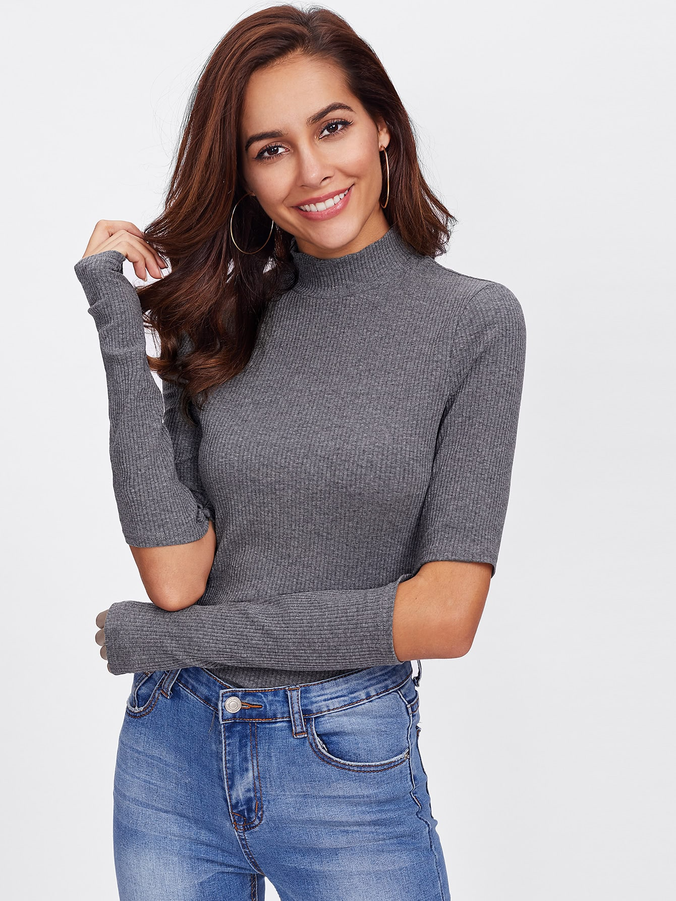 Elbow Cut Out Ribbed Tee tee171101701